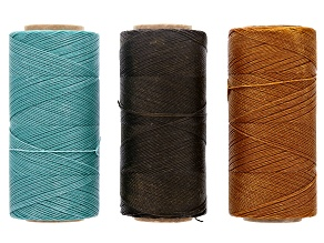 Waxed Jewelry Cord Set Of 3 Spools Apx 360yd Each 0.50mm Cord in Brown, Orange & Turquoise