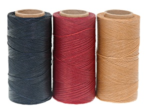 WAXED JEWELRY CORD SET OF 3 SPOOLS APX 360YD EACH 0.50MM CORD IN ALABASTER, RED & NAVY