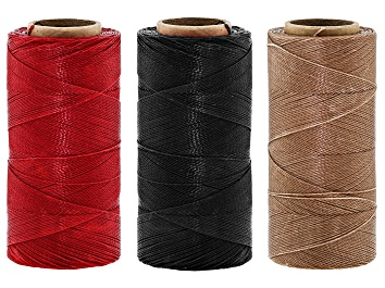Picture of Waxed Bead Stringing Cord Set of 3 Spools Appx 360YD Each 0.50MM in Sand, Red & Navy