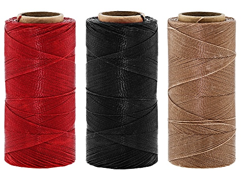 Waxed Bead Stringing Cord Set of 3 Spools Appx 360YD Each 0.50MM in Sand, Red & Navy
