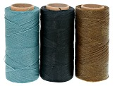 WAXED JEWELRY CORD SET OF 3 SPOOLS APX 360YD EACH 0.40MM CORD IN AGAVE, LAGOON & BLACK