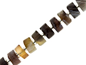 Botswana Agate Appx 5x8-7x12mm Rondelle Bead Strand Appx 15-16