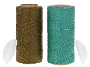 Waxed Jewelry Cord Set Of 2 Spools 360yd Each 0.40mm Cord in Agave & Turquoise Color