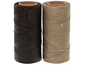 WAXED JEWELRY CORD SET OF 2 SPOOLS 360YD EACH 0.40MM CORD IN ECRU & DARK BROWN