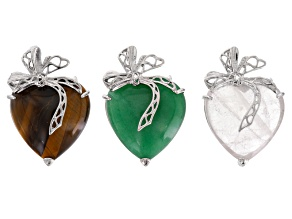 Heart Pendant 3pc Set incl Green Quartzite, Clear Lab-Crated Quartz, And Tiger's Eye in Silver Tone