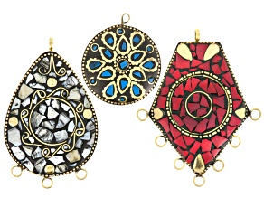 Old World Style 3 Piece Pendant Set in Red, Blue And Iridescent White