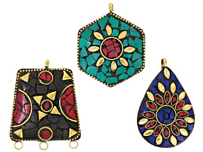 Old World Style 3 Piece Pendant Set In Red/Black, Green/Red & Blue/Red