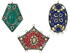 Old World Style 3 Piece Pendant Set in Blue, Green, And Red-Orange