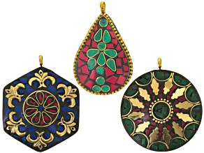 Old World Style 3 Piece Pendant Set In Red/Teal, Green/Red, And Blue/Red