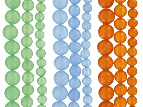 Quartzite Round appx 6, 8 & 10mm Bead Strand Set of 9 in Blue, Orange & Green appx 15-16