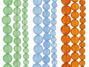 Quartzite Round appx 6, 8 & 10mm Bead Strand Set of 9 in Blue, Orange & Green appx 15-16