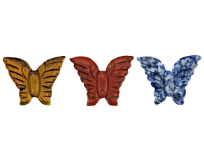 Carved Butterfly Focal Pieces Set Of 3 incl Red Jasper, Lazurite in Matrix And Tiger's Eye
