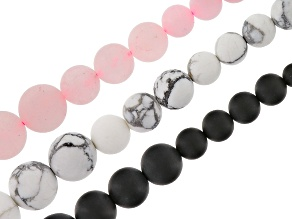 White Magnesite, Rose Quartz, & Onyx 3pc Graduated Bead Strand Set Appx 15-16
