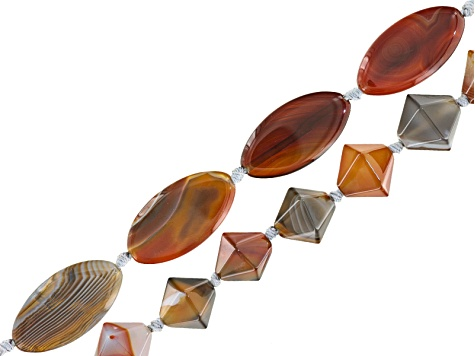 Botswana Agate Bead Strand Set of 2 in Marquise appx 20x40mm Shape & Bicone Shape Appx 15-16