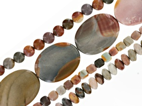 Polychrome Jasper Beads 4 Strand Set in Assorted Shapes And Sizes Appx 8