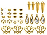 Tierra Cast™ Lotus Findings Kit in Bright & Antique Gold Tone With Swarovski Elements 28 Pieces