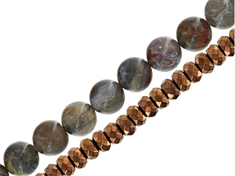 Bead Strand Set/2: Morocco Agate 10mm Round & Metallic Coated Hematine 3mm Faceted Rondelle