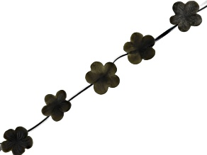 Matte Golden Obsidian Carved Flower Shape Beads Appx 16