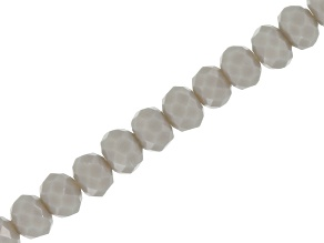 Opaque Light Grey Chinese Crystal Glass Appx 4mm Rondelle Bead Strand Appx 15