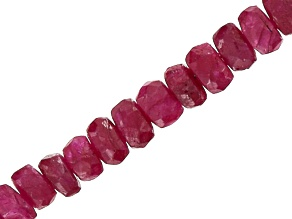 Red Sapphire Appx 3x1-5x3mm Graduated Faceted Rondelle Bead Strand Appx 18