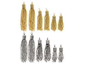 Chain Tassel Set in Gold Tone & Antique Silver Tone includes Short, Medium & Long