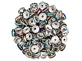 Multicolor Crystal Glass & Silver Tone Spacer Beads Appx 130 Pieces