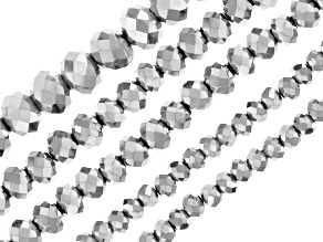 Metallic Silver Color Glass Beads Faceted Roundish in 4, 6 & 8mm Set Of 5 Strands