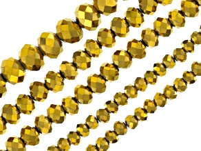 Metallic Gold Color Glass Beads Faceted Round in 4, 6 & 8mm Set Of 5 Strands