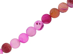Pink Agate & Druzy Agate 6mm Round Bead Strand Appx 15-16