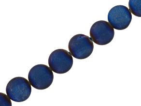 Midnight Blue Druzy Agate 10mm Round Bead Strand Appx 15-16