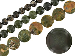 African Green Jasper, Rhyolite, & Turritella Agate 3 Piece Bead Strand Set Appx 8