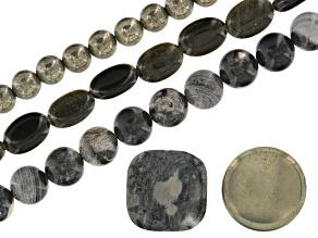Black Silver Leaf Jasper, Golden Obsidian, & Pyrite 3 Piece Bead Strand Set Appx 8