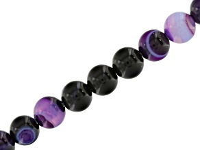 Purple Banded Agate 4mm Round Bead Strand Appx 15-16