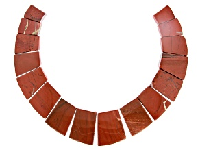 Red Jasper Appx 18x14mm - 30x40mm Graduated Collar Bead Strand Appx 13-14