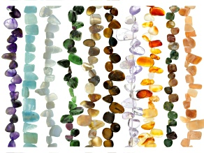 Mixed Gemstone Fancy Pear Shape Bead Strand Set Of 10 Appx 15-16