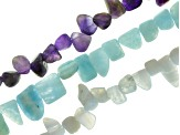 Mixed Gemstone Fancy Free-Form Shape Bead Strand Set Of 10 Appx 15-16