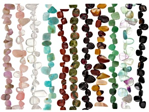 Mixed Gemstone Fancy Mixed Shape Bead Strand Set Of 11 Appx 15-16""