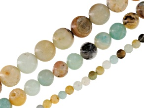 Multicolor Quartzite Round Bead Strand Set/3 in Appx 4, 8 & 10mm Appx 15-16