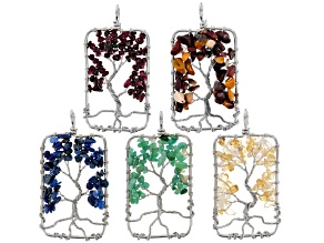 Tree Of Life Rectangle Chip Pendant Set Of 5 in Assorted Stones