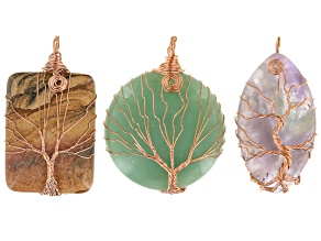 Tree Of Life 3 Piece Pendant Set Rose Tone in Assorted Shapes, Sizes And Stones