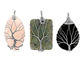 Tree Of Life 3 Piece Pendant Set in Silver Tone incl Rose Quartz, Black Agate & Labradorite