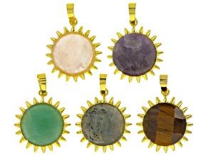 Sunflower Focal Set/5 Pieces incl Labradorite, Rose Quartz, Tiger's Eye, Amethyst & Green Quartzite
