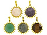 Sunflower Focal Set/5 Pieces incl Labradorite, Rose Quartz, Tiger's Eye, Amethyst & Green Quartzite