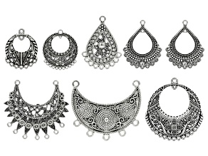 Bali Inspired Pendant Set/ 8 Pieces In Silver Tone Includes 7 Assorted Styles