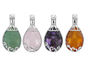 Pear Shape Pendant Magnetic Bail Set 4 Pieces Amethyst, Rose Quartz, Green Quartzite & Carnelian