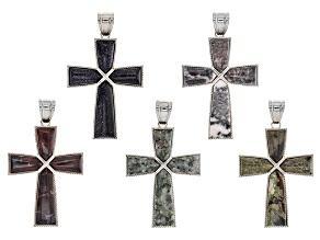 Cross Pendant Set/ 5 Pieces incl Jasper, Blue Goldstone, Marble & Mixed Ornamental Rock