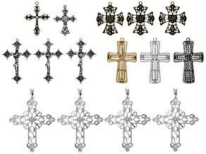 Cross Pendant Set/15 Pieces in Assorted Shapes, Colors And Sizes