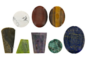 Focal Bead Set includes 8 Pcs Of Assorted Stones in Varying Shapes, Colors & Sizes