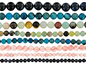 "Bright & Shiny Round Shape Bead Strand Set Of 8 Appx 8"" Each"