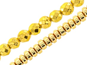 Gold Tone Coated Hematine Bead Strand Set Of 2 includes 4mm Faceted Round & 3mm Rondelle